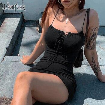 Waatfaak Gothic Short Black Dress Club Cut Out Spaghetti Women Dress Cotton Sexy Summer Mini Dress Bodycon Casual High Waist
