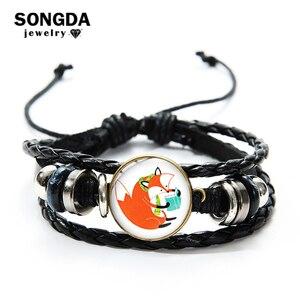 SONGDA умный кожаный многослойный Плетеный браслет с лисой для девочек и мальчиков, забавная книга для чтения, мультяшный стеклянный браслет с...