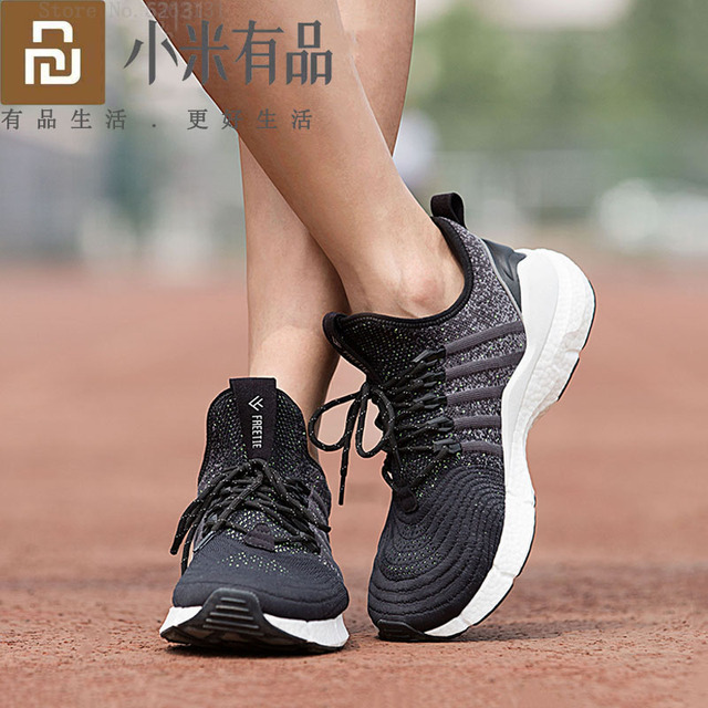 Youpin FREETIEผู้ชายBreathable Cushioningรองเท้าผ้าใบรองเท้าความยืดหยุ่นสูงถักด้านบนช็อกดูดซับรองเท้าวิ่งกลางแจ้ง