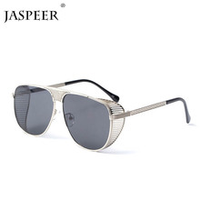 JASPEER Metal Round Steampunk Sunglasses Men Women Fashion Glasses Brand Designer Retro Frame Vintage UV400