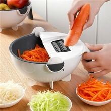 Роторный измельчитель овощей и резак с 8 лезвиями для нарезки, многофункциональная вращающаяся корзина для слива пищи, кухонная овощерезка, салатная машина