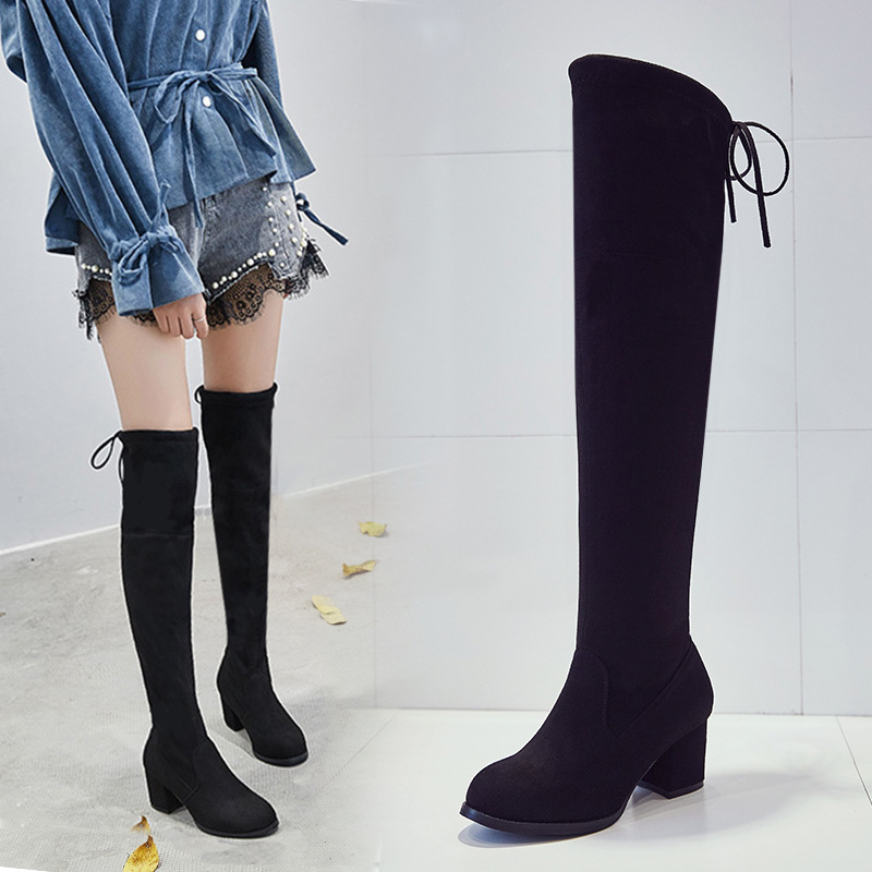 New Autumn and Winter Knee High Boots Women's European and American High Heels Ladies Show Boots Black Luxury Shoes Women Designers