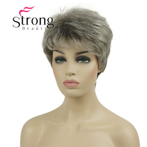 Image 3 - قوية الجمال قصيرة شعر مستعار الاصطناعية شقراء مع الفضة الباروكات الكاملة لسيدة النساء
