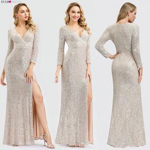 Image 4 - หรูหราชุดราตรียาวPretty Sequined Vคอเต็มรูปแบบเสื้อElegantชุดราตรีEP00824RG Vestido Noche Elegante 2020