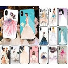 Coque de téléphone de fille pour robe de mariée, pour iPhone 12 mini 12Pro Max SE2 11 11Pro XS MAX XR 7 8 6 Plus 5 5s SE