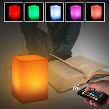 Cuboid LED Night Light Mood Decorative Outdoor Garden LED Light Rechargeable 5W 16 Colors Dimmable RGB Remote Control LED Lamp 20cm free shipping rgb remote control colors change led light ball for club or garden vc b200