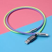 Câble de Parachute de corde de données de Gradient de prise en métal de clavier enroulé fait sur commande pour le HUB de jeu ordinateur portable