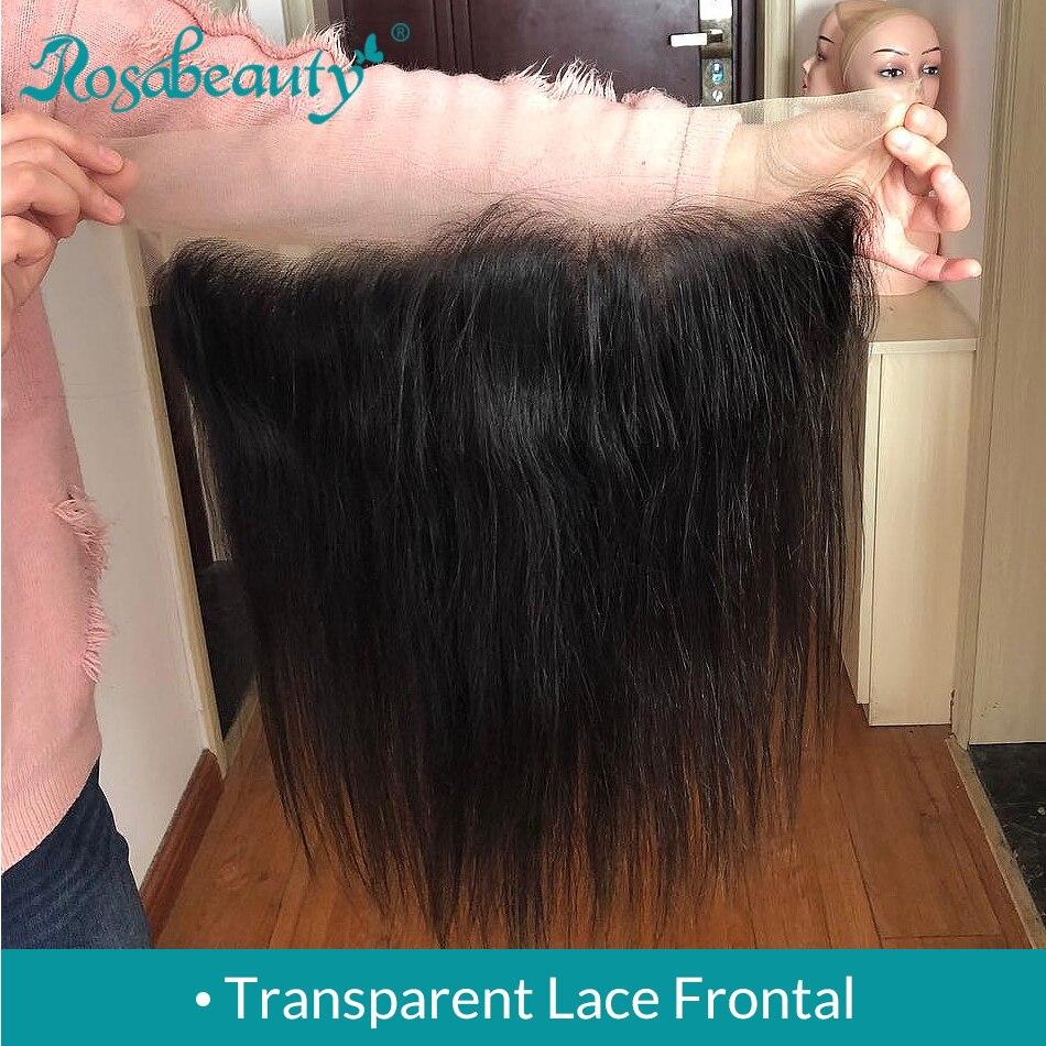 Rosbeleza parte livre cabelo humano 13x4 fechamento frontal do laço transparente em linha reta cabelo virgem pré arrancado linha fina com cabelo do bebê