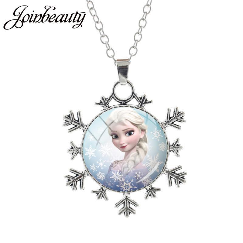 JOINBEAUTY Принцесса Эльза Анна снег кулон в виде королевы Ожерелье Дамы Снежинка Длинная цепочка Ювелирные изделия стекло кабошон для девочек SQ03 - Окраска металла: SQ07-25