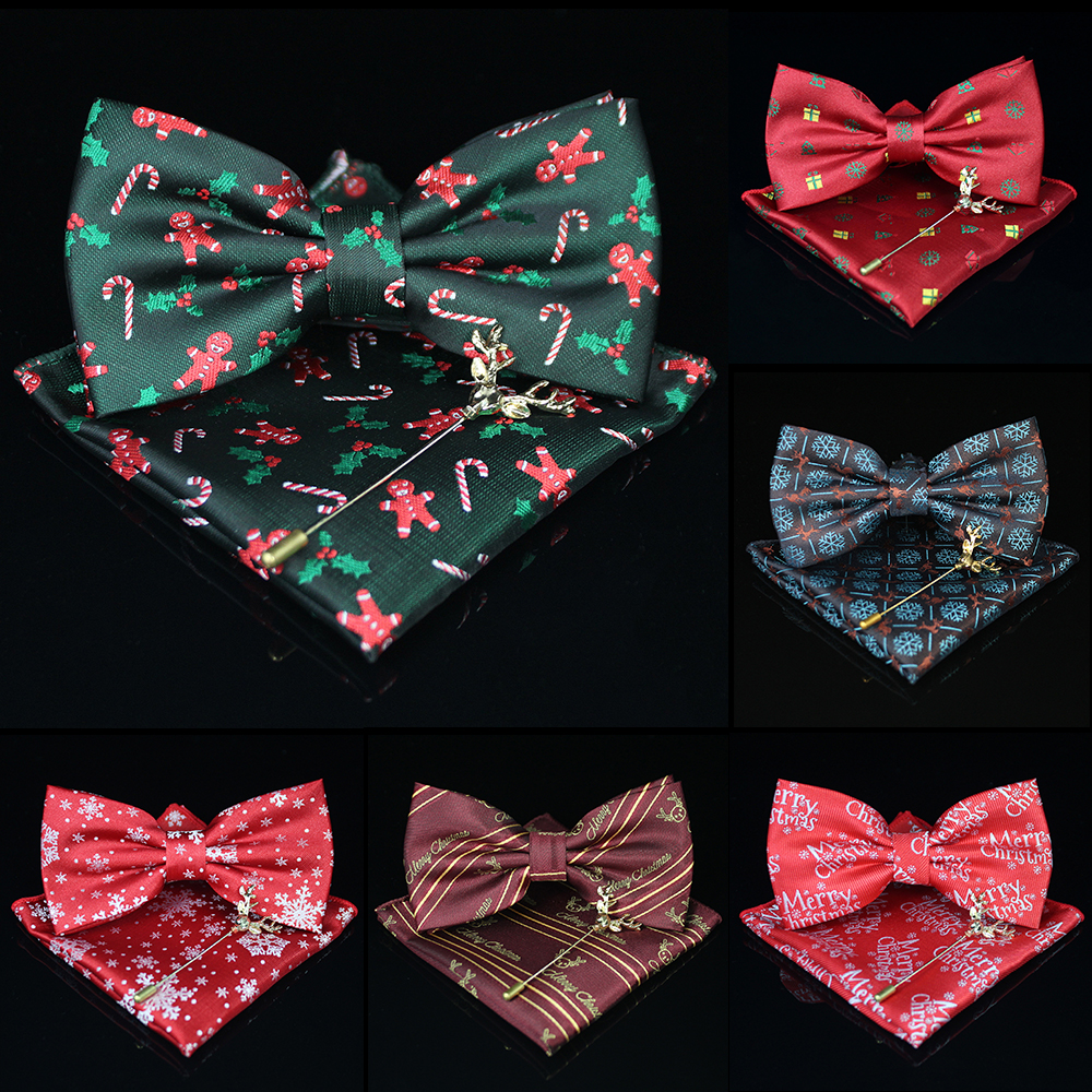 KAMBERFT 2019 Original Design Christmas Gift 100% Silk Jacquard Woven Men Classic Butterfly  Bow Tie For Men Pocket Square Sets
