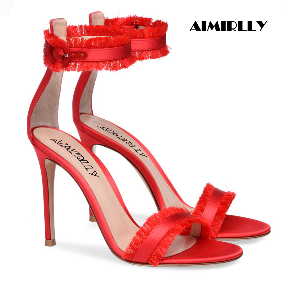 Womens Sandals Open Toe High Heels Shoes Red Satin Fringe Strap Ladies Party Wedding Dress Stilettos Ankle Buckle Aimirlly