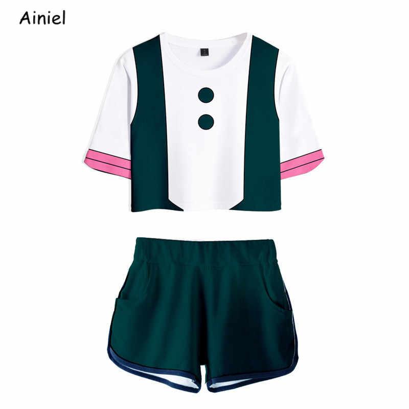 Saya Pahlawan Academia Cosplay Kostum Kemeja Celana Pendek Wanita Sport Set Sexy T Kemeja Tee Suit Academia Gym Pakaian Olahraga Anak Perempuan