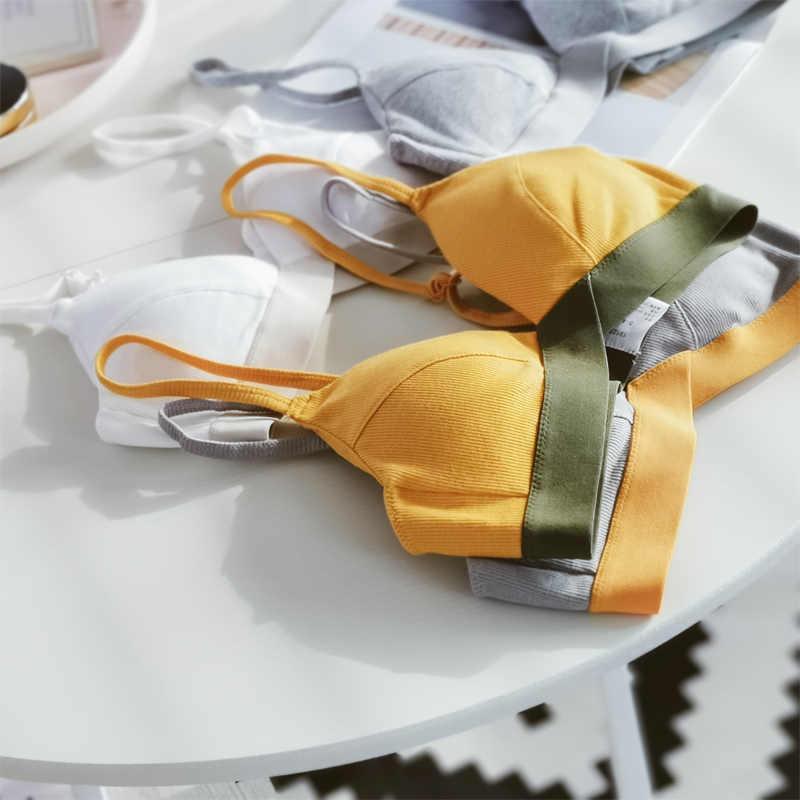 Snoep Kleur Beha Vrouwen Schoonheid Terug Katoen Bralette 7 Kleur Tops Comfort Ondergoed Draadloze Beha Voor Vrouwelijke Intieme Lingerie