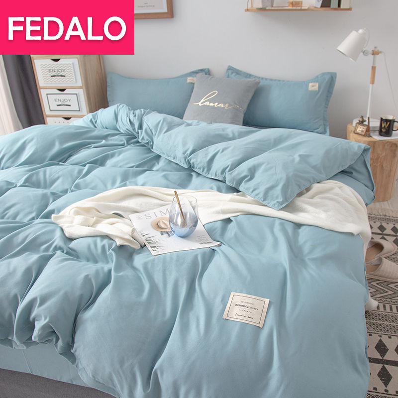 Japanese simple washed cotton four-piece solid color bed sheet double quilt cover student dormitory single three-piece