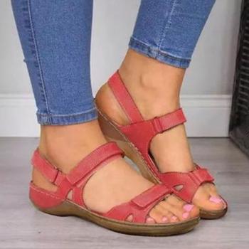 2020 nowych kobiet sandały miękkie trzy kolory szwy sandały damskie wygodne sandały na płaskim obcasie z wystającym palcem buty na plażę kobieta obuwie tanie i dobre opinie HAJINK Podstawowe Mieszkanie z Otwarta Mieszkanie (≤1cm) Na co dzień Hook loop Pasuje prawda na wymiar weź swój normalny rozmiar