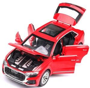 Image 4 - 1:24 audi Q8 SUV off road araç modeli yüksek simülasyon alaşım araba modeli ses ışığı ile geri çekin çocuk oyuncak araba ücretsiz kargo