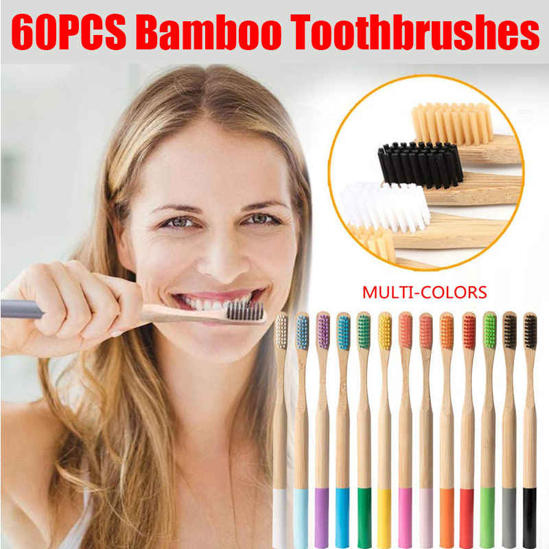 60pcs/Set Natural Pure Bamboo Toothbrush Soft-bristle Charcoal Round Bamboo Handle Toothbrushes Dental Care Tools image