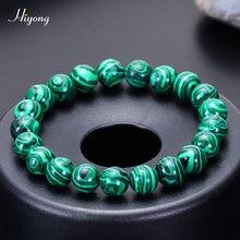 HIYONG 2019 New Fashion Natural Malachite Bracelet for Men Women Stone Bead Charm Yoga Bracelets/Bangle Jewelry Gifts