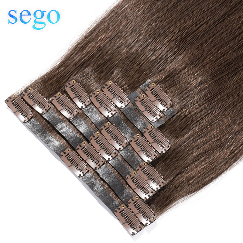 "SEGO 22"" 90g-110g 100% Real Hair Clip In Human Hair Extension Seamless PU Tape In Clip In Manchine Remy Brazilian Hair 8Pcs/set"