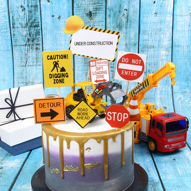 Construction Road Sign Road Traffic Cake Topper for Birthday Kids Party Decor