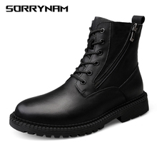Genuine Leather Men Boots Fashion Casual Trend Retro Black High-top Non-slip Outsole Ankle Boots Man Shoes Plus Size 38-47 цены