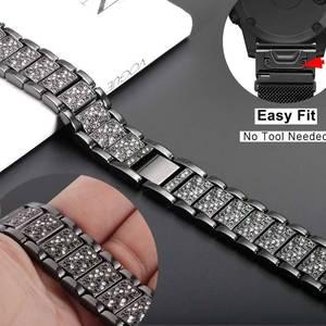 Image 3 - YOOSIDE Fenix 6S מהיר Fit נשים צמיד 20mm קריסטל בלינג סגסוגת מתכת להקת שעון רצועת עבור Garmin Fenix 5S/5S בתוספת