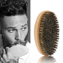 цена на Natural Boar Bristle Beard Shaving Brush Men's Mustache Brush Military Round Wood Comb Pro Shaving Comb Cleaner Brush