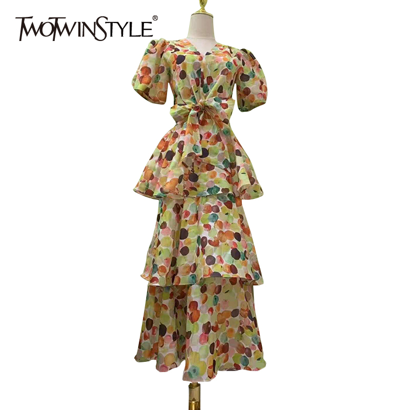 TWOTWINSTYLE Casual Two Piece Set For Women V Neck Short Sleeve Bowknot Top High Waist A Line Midi Skirts Loose Sets Female 2021