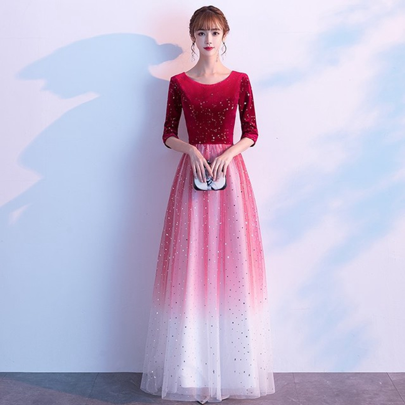 Choir Performance Dress Female Fashion Long Skirt Red 2019 New Velvet Dress Choir Costume Host Stage Evening Dress