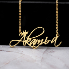 Custom Name Necklace Women Silver Gold Chain Stainless Steel Personalized Handwriting Name With Crown Jewelry Grandma Gift BFF