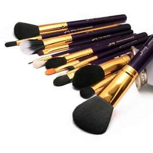Image 5 - ג סאפ איפור מברשת סט סגול/זהב brochas maquillaje סינטטי שיער קוסמטי ערכת אבקת קרן סומק שפתונים 15pcs