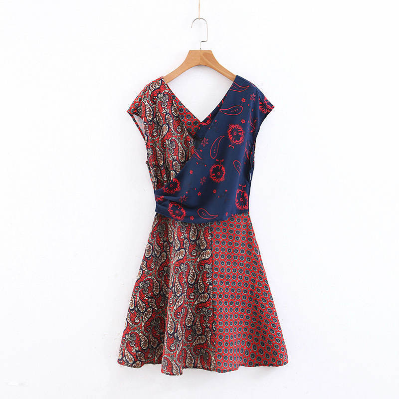 B4311-Western Style WOMEN'S Dress 2019 Summer New Style V-neck Mixed Colors Printed Joint Sleeveless Dress