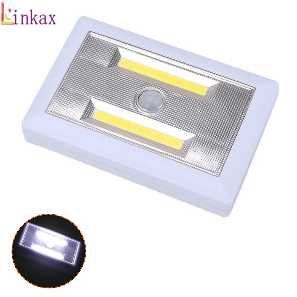 Motion Sensor Night Light COB LED Closet Lights Battery Powered Wireless Cabinet IR Infrared Motion Detector Wall Lamp