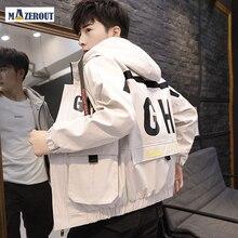 MAZEROUT мужчин пиджак белый тонкий с длинным рукавом бейсбол куртки мужчины ветровка молния пиджаки с принтом капюшон