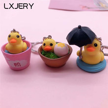 LXJERY 3 Styles Cute Cartoon Duck Keychain Lovely Key Chain For Women Bag Charm Pendant Key Ring Gifts Jewelry(China)