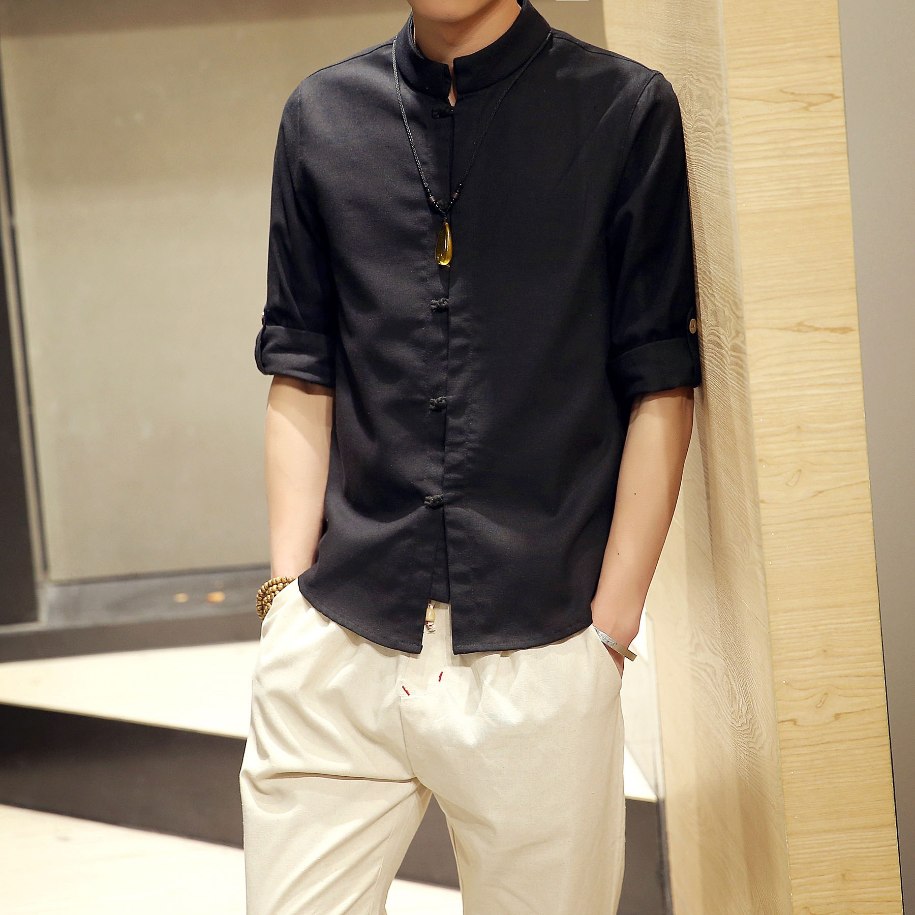 Men's Shirt Summer  Solid Color Short Sleeve Professional Workwear White Shirt