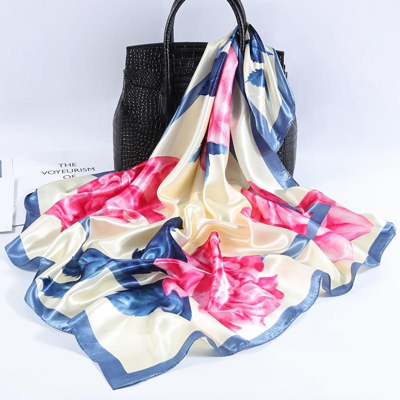 Fashion 2019 Women Accessories Elegant Soft Floral Silk Scarves Women 90*90 Cm Big Square Luxury Neck Scarfs For Ladies Shawl
