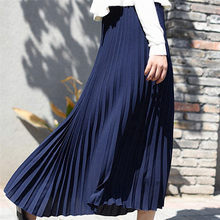 Summer Fashion Long Pleated Skirt Womens European Style Solid Elegant Midi Elastic Waist Skirt Droppship 10 Colors Pius Size(China)