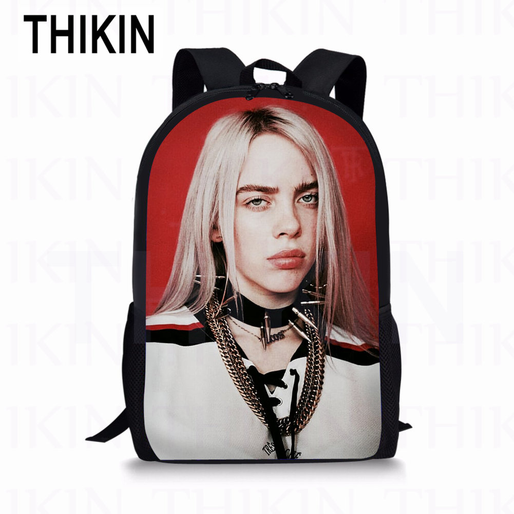 THIKIN Billie Eilish Print Student School Bags The spider girls Kids Backpack TeenagerGirls Popular 3 PCS SET Children Daily Bag in School Bags from Luggage Bags