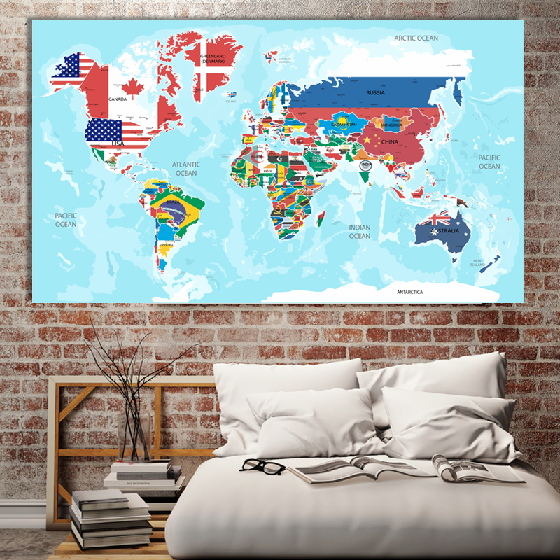 1 Pcs 80x46cm World Flag World Map English Version Living Room Office Wall Painting Mural Waterproof Canvas Map