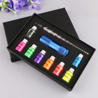 10Pcs/Set Invisible Fluorescence Bottled Dip Signature Pen Ink With Glass Fountain Dip Writing Pen Art Supplies Gifts