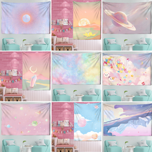 Pink Moon Starry Tapestry universe Wall Hanging Room Dorm Tapestries Art Home Psychedelic Kawaii Room Decor