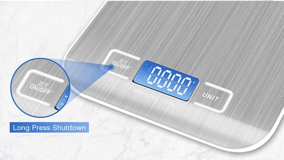 Balança de Cozinha Digital Alta Precisão 1g em Aço Inox