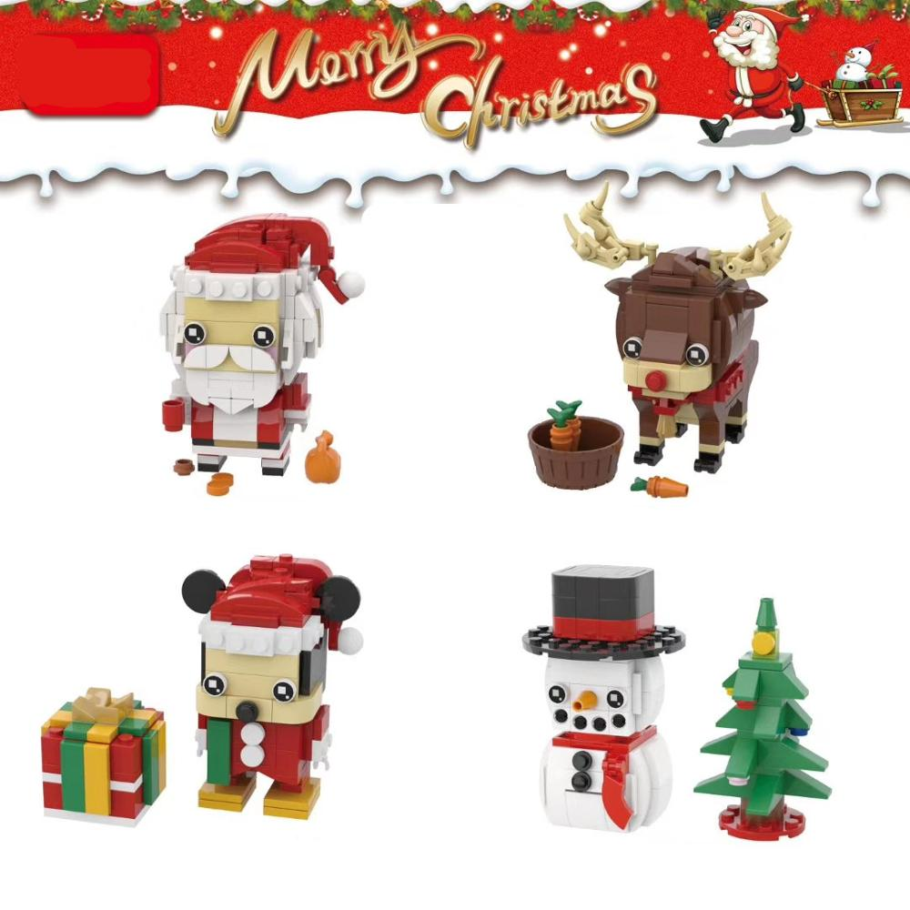 Brickheadz Girl Friends Princess Beauty And The Beast Princess Bell Creator Winter Christmas Santa Claus Elk Christmas Tree Snowman Building Blocks Bricks Toys