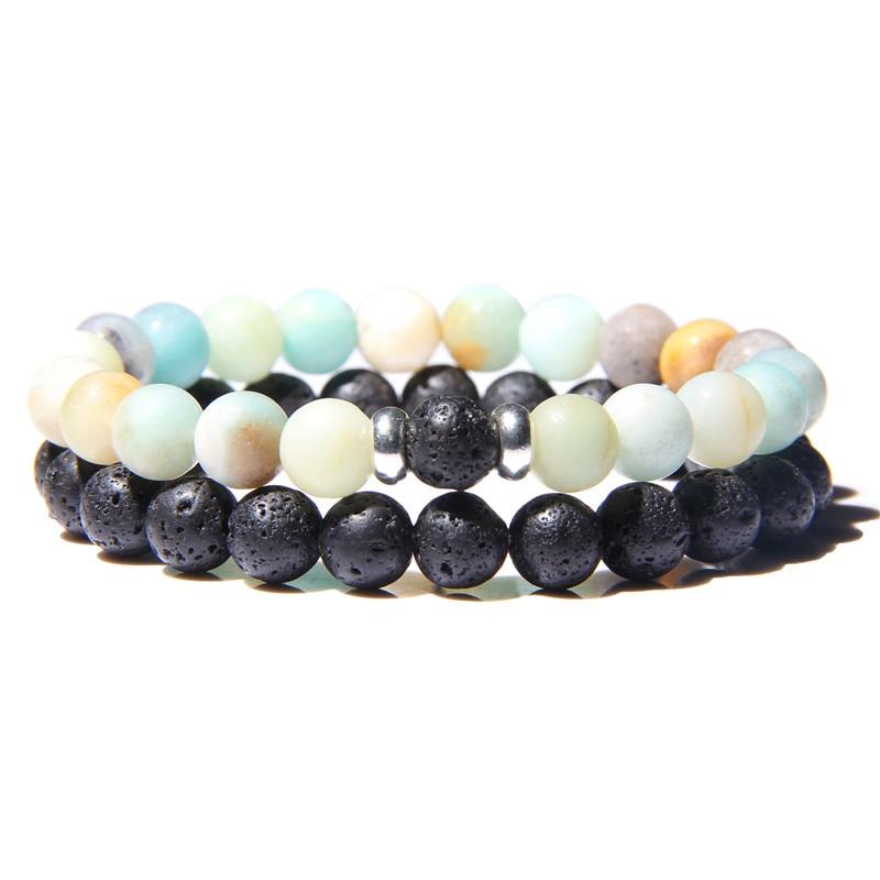 2Pcs/Set Couples Distance Bracelets male Black Lava Stone Beads bracelet female wood beads Charm Bracelets Women Men bracelet