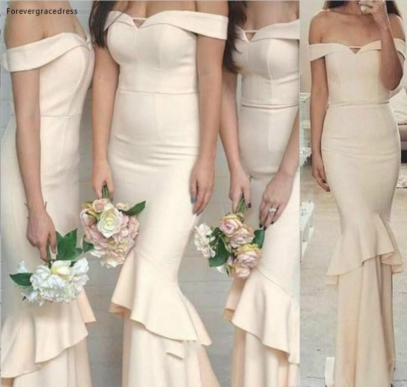 2019 Hot Sale   Bridesmaid     Dress   Mermaid Off Shoulders Country Garden Formal Wedding Party Guest Maid of Honor Gown Plus Size