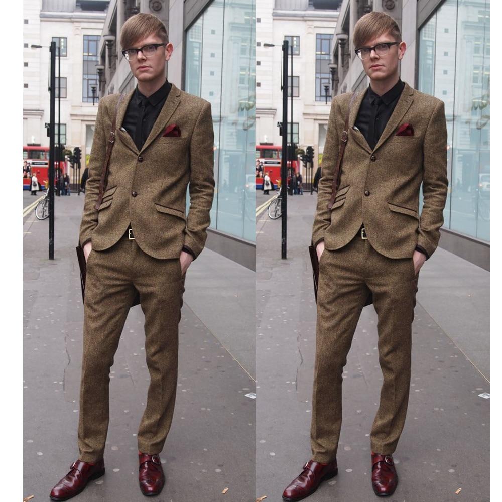 Latest Coat Pant Designs Brown Tweed Men Suit Slim Fit 2 Piece Tuxedo Custom Suits Groom Prom Blazer Terno Masculino Jacket+Pant