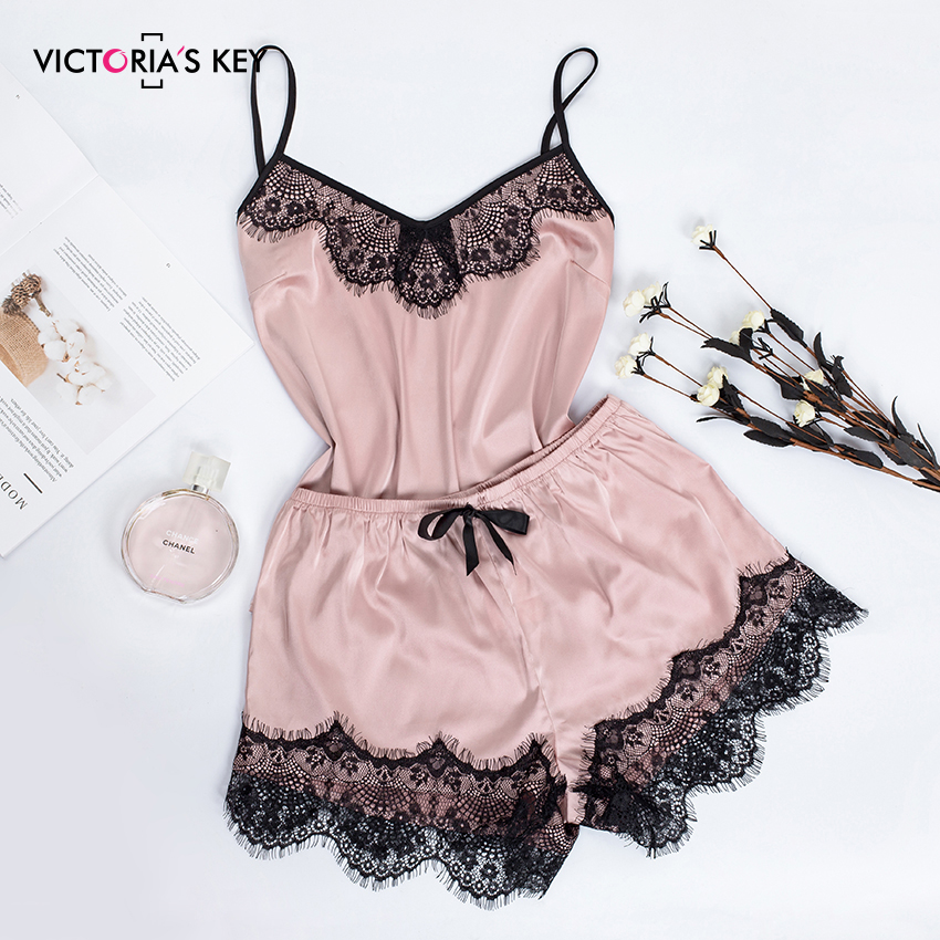 VICTORIA'S KEY Pink Sexy Sleepwear Winter Pajamas For Women V Neck Lace Satin Silk Cami And Shorts Spaghetti Strap Pajama Set