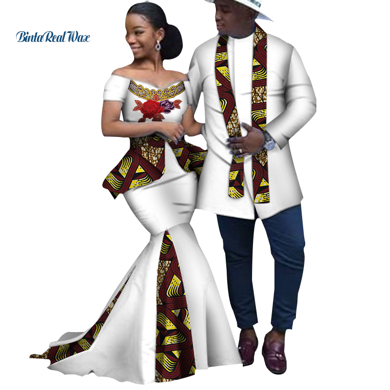 African Print Long Patchwork Dresses For Women Bazin Riche Men's Top Shirt Couple Clothing African Lovers Couple Clothes WYQ253
