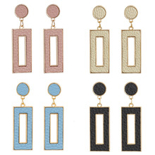 2020 Fashion Korean Earrings Trendy Simple Temperament PU Leather Geometric Rectangular Dangle Earrings For Women Pendientes new korean fashion earrings simple gold geometric wave temperament pearl pendant wholesale trendy earrings